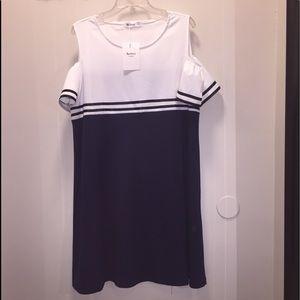 Nextmia Navy blue & white open shoulder dress NWT